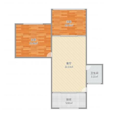 呼玛三村2室1厅1卫1厨73.00㎡户型图