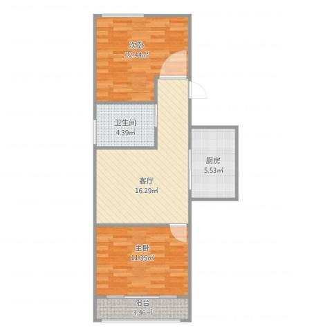 斜土路1212弄公房2室1厅1卫1厨73.00㎡户型图