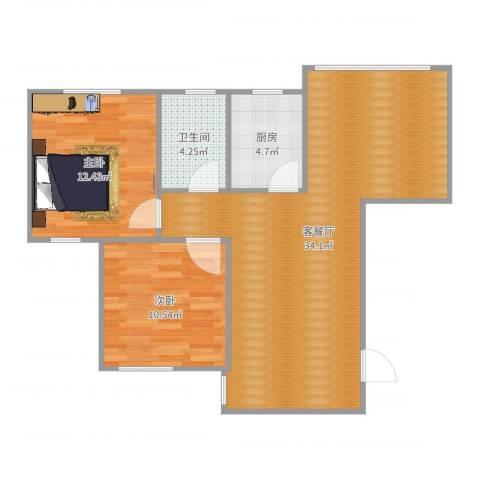 光信国信嘉园2室2厅1卫1厨83.00㎡户型图