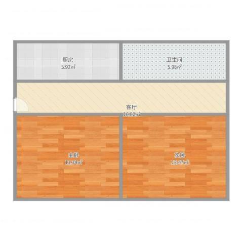 奉浦二村小户型2室1厅1卫1厨66.00㎡户型图