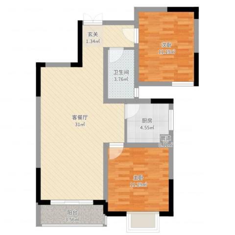 繁华世家2室2厅1卫1厨82.00㎡户型图