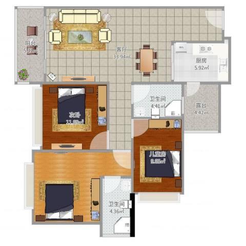 绘美豪庭2室1厅2卫1厨118.00㎡户型图