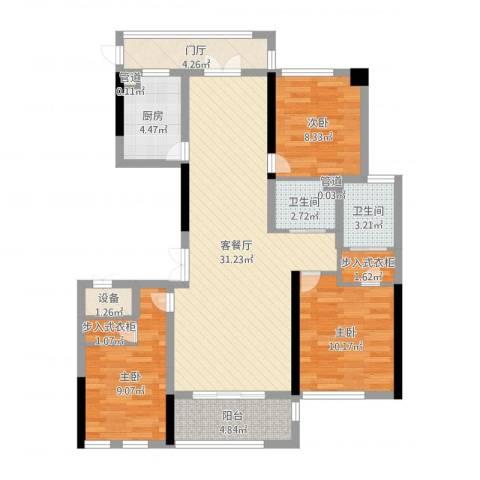 城泰湖韵天成3室2厅2卫1厨103.00㎡户型图