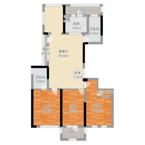 城泰湖韵天成3室2厅2卫1厨105.00㎡户型图