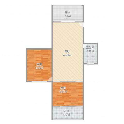 呼玛三村2室1厅1卫1厨74.00㎡户型图