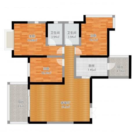 仁和春天国际花园3室2厅2卫1厨146.00㎡户型图