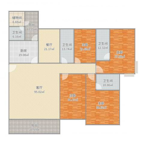 嘉信城市花园三期4室2厅4卫1厨436.00㎡户型图