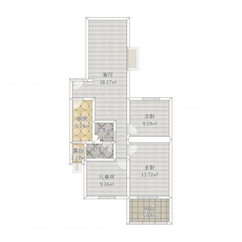 车道沟南里W3室1厅2卫1厨97.00㎡户型图