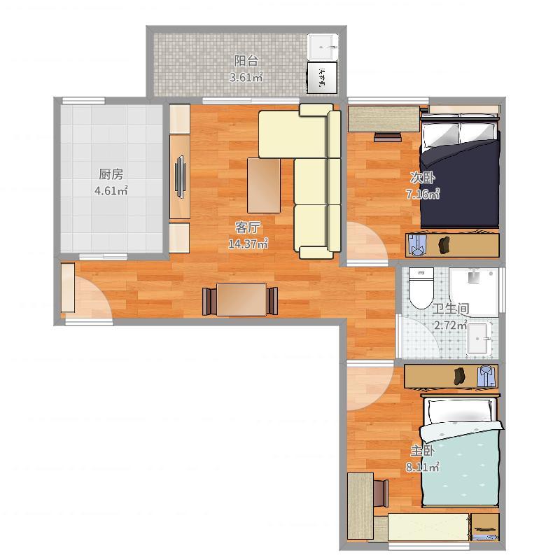 厦门-洋唐居住区25号楼02户型-设计方案改