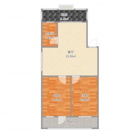 石飞宿舍2室1厅1卫1厨74.00㎡户型图