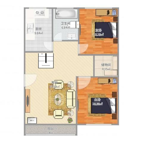 江南星城2室1厅1卫1厨125.00㎡户型图