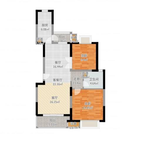 经纬城市绿洲三期2室2厅3卫3厨96.00㎡户型图