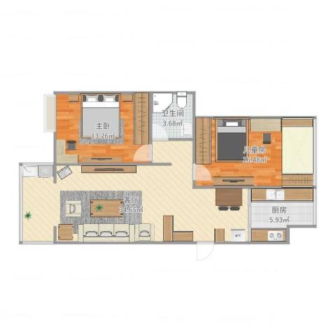 苏宁雅居2室1厅1卫1厨92.00㎡户型图