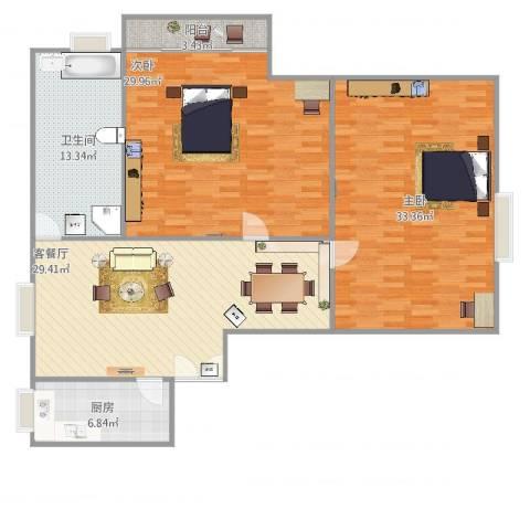 江南世纪新苑2号14032室2厅1卫1厨154.00㎡户型图