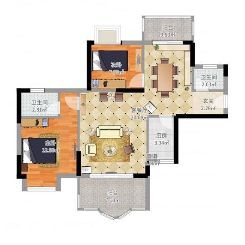 博罗新城建业・金域华府2室2厅2卫1厨87.00㎡户型图
