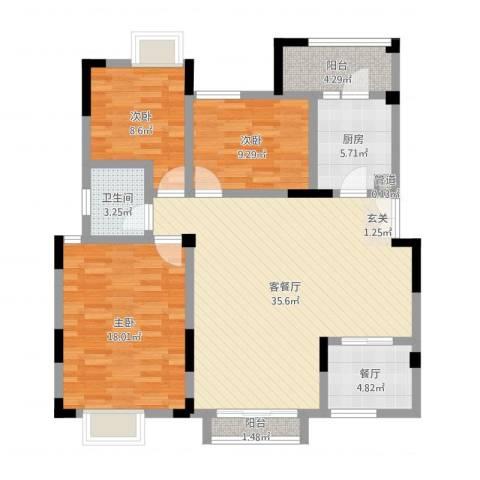 复地山与城3室3厅1卫1厨114.00㎡户型图
