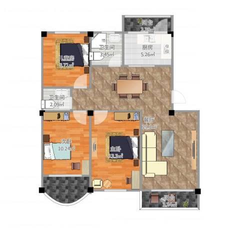 邮电宿舍3室1厅2卫1厨102.00㎡户型图
