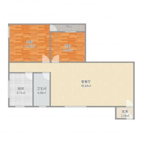 银花总汇2室2厅1卫1厨125.00㎡户型图