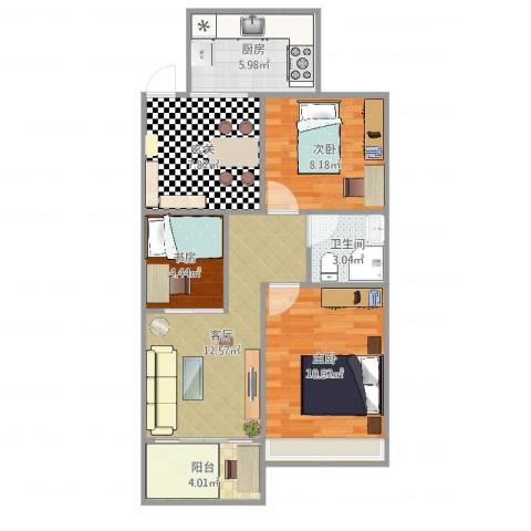 富和花园3室1厅1卫1厨73.00㎡户型图