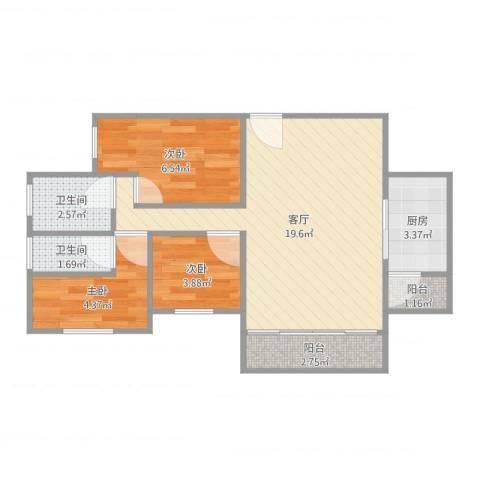 嘉信城市花园三期6座5F3室1厅2卫1厨64.00㎡户型图