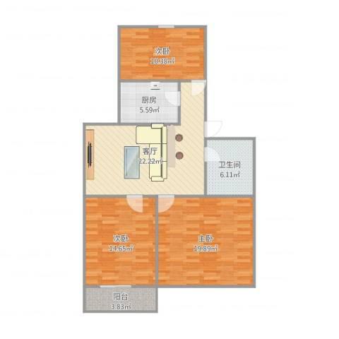 开元小区3室1厅1卫1厨103.00㎡户型图