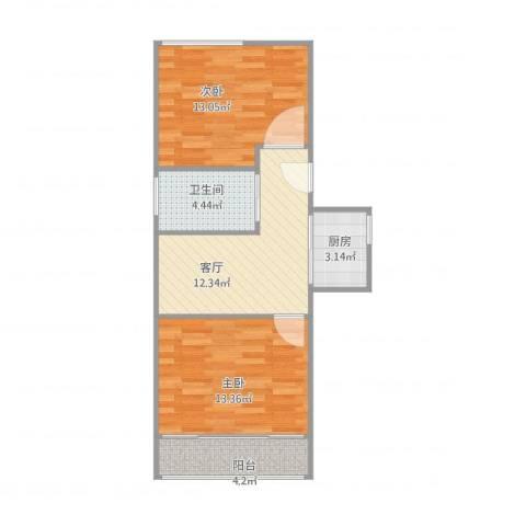 牡丹路225弄小区2室1厅1卫1厨69.00㎡户型图
