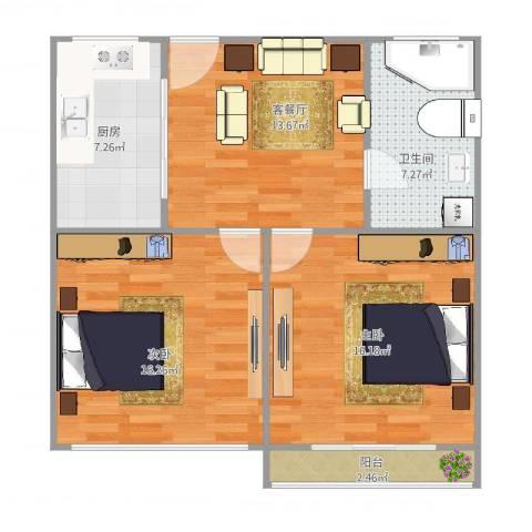 瑞冬小区2室2厅1卫1厨85.00㎡户型图