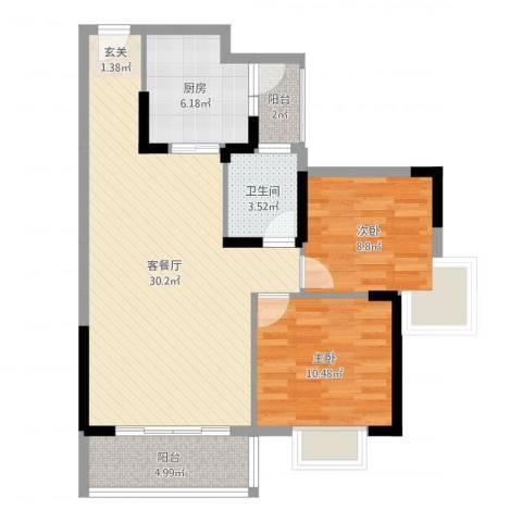 涉外国际公馆二期2室2厅1卫1厨83.00㎡户型图