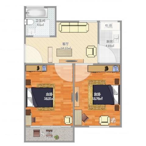 虹桥机场新村2室1厅1卫1厨80.00㎡户型图