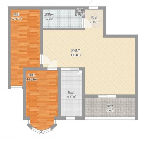 铂宫2室2厅1卫1厨111.00㎡户型图
