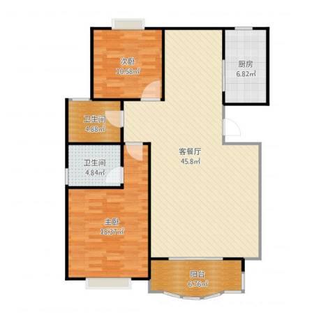 松江世纪新城2室2厅2卫1厨131.00㎡户型图