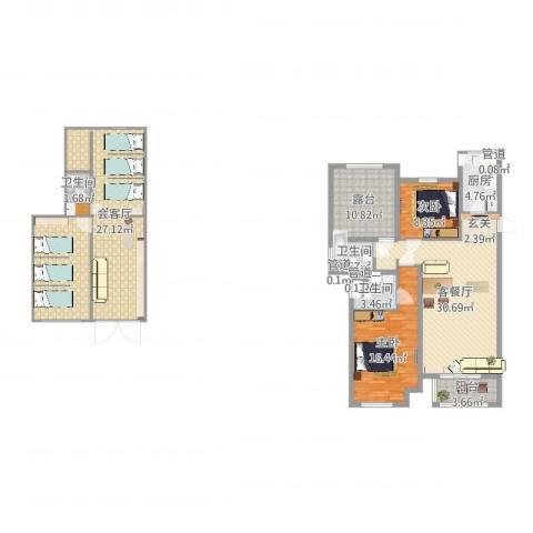 龙达新天地2室2厅3卫1厨125.20㎡户型图