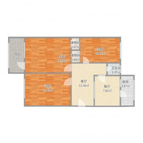 马鞍山路单位宿舍3室1厅1卫3室2厅1卫1厨100.00㎡户型图