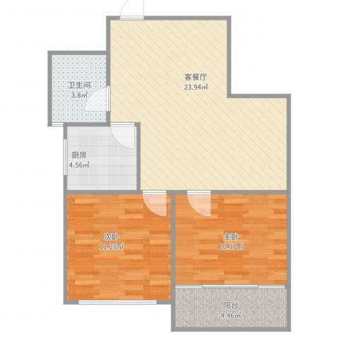 贤文花园2室2厅1卫1厨79.00㎡户型图