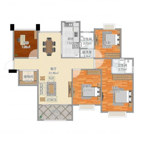 首开太湖一号4室3厅2卫1厨130.00㎡户型图