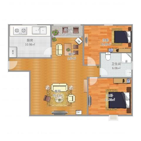 爱庐世纪新苑2室1厅1卫1厨108.00㎡户型图