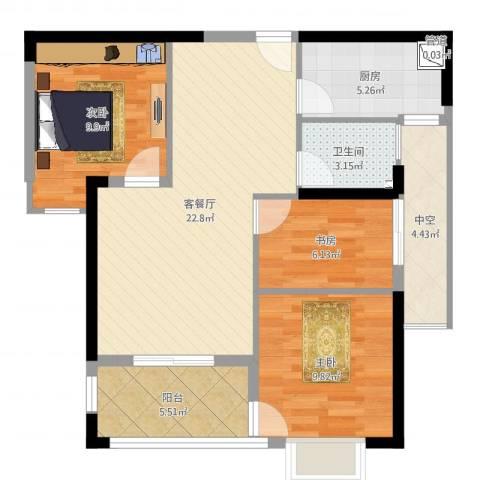 万星嘉和时代3室2厅1卫1厨84.00㎡户型图
