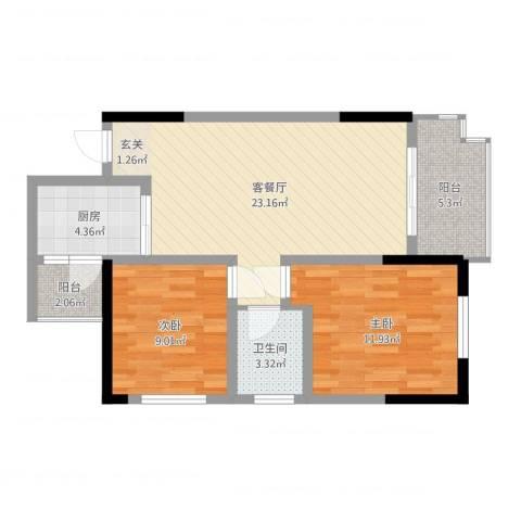 涪陵金科廊桥水岸2室2厅1卫1厨74.00㎡户型图