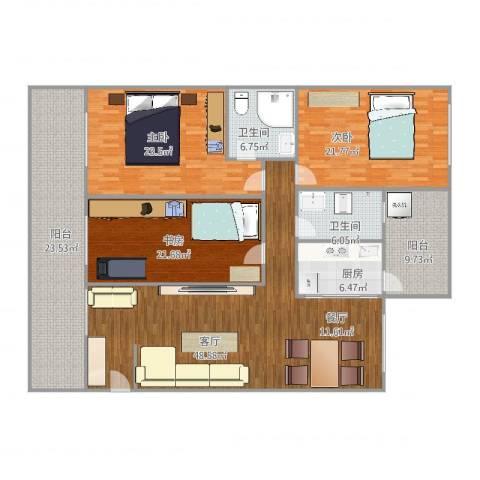 城东名门3室1厅2卫1厨223.00㎡户型图