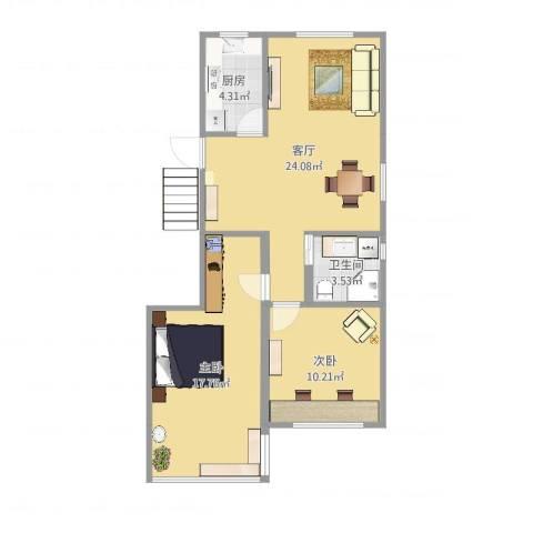 牡丹路225弄小区2室1厅1卫1厨75.00㎡户型图