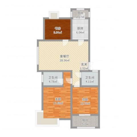 渝水印象3室2厅2卫1厨131.00㎡户型图