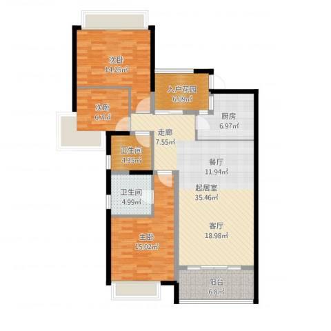 雅居乐国际花园二期3室1厅2卫1厨126.00㎡户型图