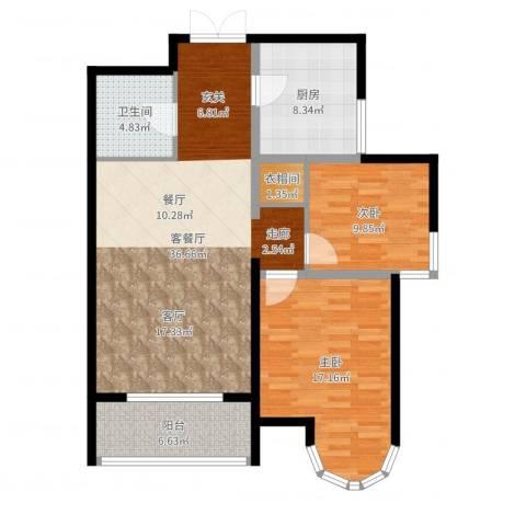 建邦华庭3室2厅1卫1厨106.00㎡户型图