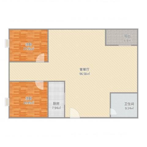 帝峰国际2室2厅1卫1厨206.00㎡户型图