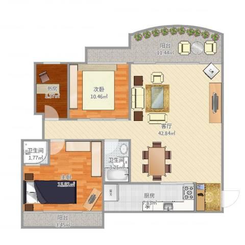 东方巴黎广场二期3室1厅2卫1厨128.00㎡户型图