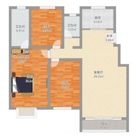 鸿飞逸景3室2厅2卫1厨131.00㎡户型图