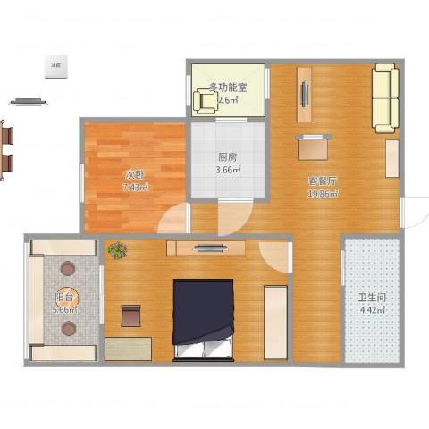 五棵松26号院1室2厅2卫1厨73.00㎡户型图