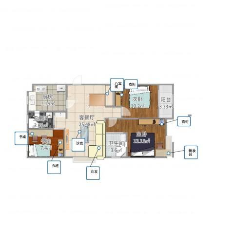 蜜橙3室2厅2卫1厨92.00㎡户型图