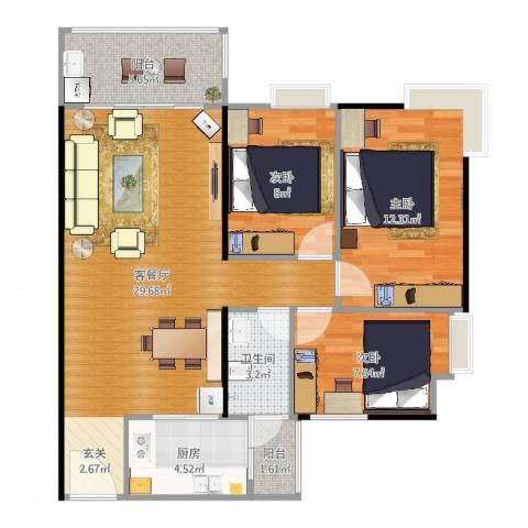 鹏达・丽水湾3室2厅1卫1厨91.00㎡户型图