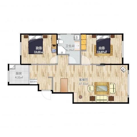 景康名苑2室2厅1卫1厨92.00㎡户型图